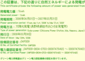 グリーン電力証明書
